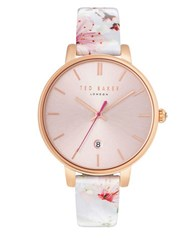 Ted Baker Kate Goldtone And Floral Leather Watch White