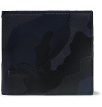 Valentino Garavani Camouflage Print Canvas And Leather Billfold Wallet Midnight Blue