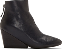 Marsell Dark Blue Leather Wedge Ankle Boot