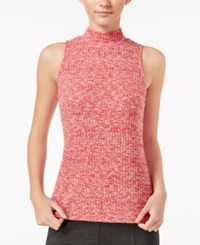Kensie Sleeveless Mock Turtleneck Top Ruby Red Combo
