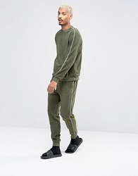 Asos Loungewear Towelling Skinny Joggers With Contrast Piping In Khaki Forest Nights Green