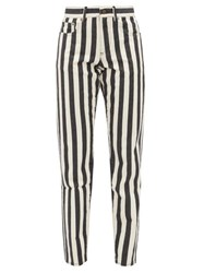 Saint Laurent Striped Mid Rise Slim Leg Jeans Black White