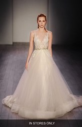 Women's Lazaro Lace Applique Tulle Ballgown Dress In Stores Only