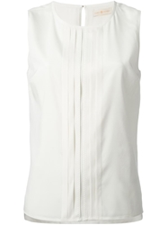 Tory Burch Pleated Front Sleeveless Top White
