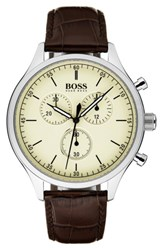 Boss Men's Companion Chronograph Leather Strap Watch 42Mm Beige Brown