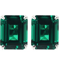 Carat Emerald 1.5Ct Solitaire Stud Earrings Green
