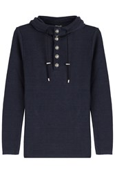 Balmain Linen Pullover With Statement Buttons Blue