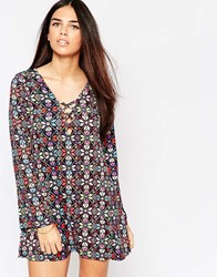 Motel Miriam Dress With Lace Up Front In Bohemian Print Multi