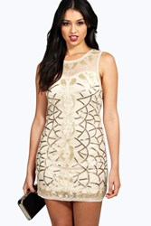 Boohoo Fay Sequin Panel Detail Bodycon Dress Gold