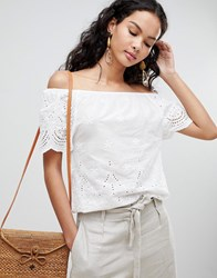 Qed London Off Shoulder Broderie Top White