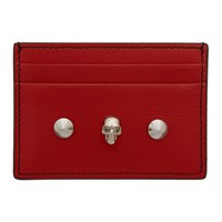 Alexander Mcqueen Red Skull And Stud Card Holder