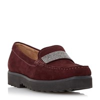 Episode Gaynor Diamante Saddle Trim Loafers Burgundy