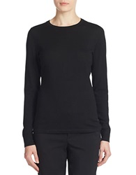 Lord And Taylor Petite Merino Wool Basic Crewneck Sweater Black