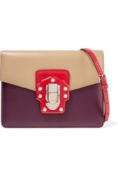 Dolce And Gabbana Lucia Ayers Trimmed Color Block Leather Shoulder Bag Plum