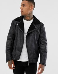 Armani Exchange Faux Shearling Jacket In Black