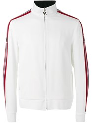 Msgm Striped Sleeve Zip Top White