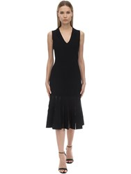 Alexander Mcqueen Flared Jersey Knit Midi Dress Black