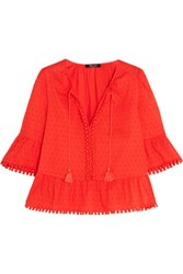 Madewell Pompom Trimmed Swiss Dot Cotton Blouse Red