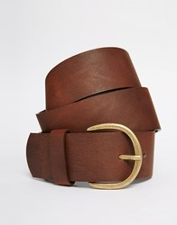Vero Moda Wide Leather Belt Cognac Tan