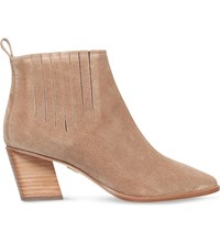 Roger Vivier Pointed Suede Ankle Boots Tan