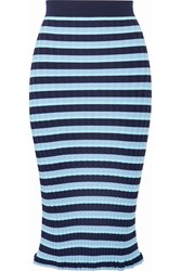 Altuzarra Bloomfield Striped Ribbed Stretch Knit Midi Skirt Light Blue