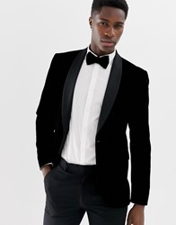 Only And Sons Velvet Tuxedo Suit Jacket With Satin Lapel Black