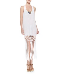 Milly Featherweight Fringe Hem Racerback Coverup