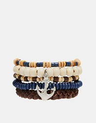 Asos Nautical Charm Beaded Bracelet Blue