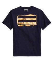 Sean John Men's Spray Flag Graphic Print T Shirt Navy
