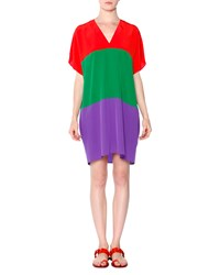 Tomas Maier Short Sleeve Colorblock Silk Tunic Dress Fire Grass Chino