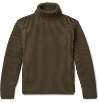 Tom Ford Ribbed Cashmere Rollneck Sweater Green