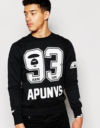 Aape By A Bathing Ape Aape Sweatshirt With 93 Print Blackwhiteprint