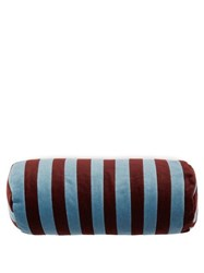 Christina Lundsteen Striped Cotton Velvet Bolster Cushion Red Multi
