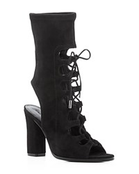Sigerson Morrison Linda Lace Up Open Toe Booties Black
