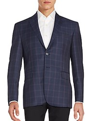 Yves Saint Laurent Check Pattern Sportcoat Navy Purple