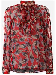 N 21 No21 Pussy Bow Floral Blouse Women Silk 42 Red
