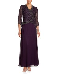 J Kara Three Quarter Sleeve Beaded Chiffon Popover Gown Plum