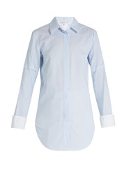 Helmut Lang Ticking Striped Tuxedo Cotton Shirt Light Blue