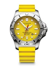 Victorinox Inox Professional Diver Stainless Steel And Leather Strap Watch Yellow