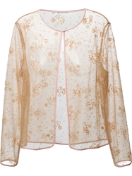 Mary Katrantzou Floral Embellished Cardigan Nude And Neutrals