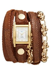 Women's La Mer Collections Leather And Chain Wrap Bracelet Watch 28Mm