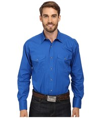 Roper L S Solid Basic Snap Front Blue Long Sleeve Button Up