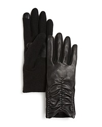 Echo Rouched Sheepskin Leather Tech Gloves Black