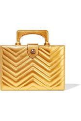 Gucci Broadway Box Quilted Metallic Leather Clutch Gold