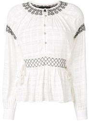 Diesel Black Gold Embroidered Buttoned Blouse White