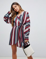Boohoo Tie Side Shirt Dress In Multi Stripe Multi