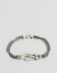Asos Chain Buckle Bracelet Antique Silver