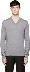 Dolce And Gabbana Grey V Neck Sweater