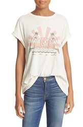 The Great Women's Great. Graphic Print Cotton Tee Washed White Red Black Print
