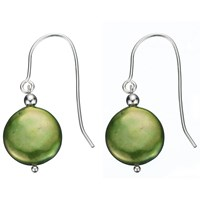 A B Davis Sterling Silver Freshwater Coin Pearl Drop Earrings Green